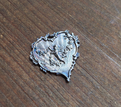 French Cherub Heart  Aged Sterling Finish